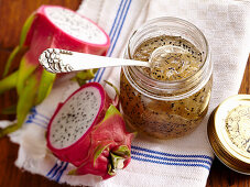 Dragon fruit and Prosecco jam in a screw-top jar