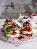 Asian burger with tomatoes and beetroot