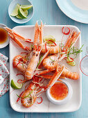 Poached langoustines with chilli sauce (China)