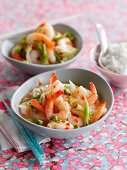 Sweet chilli king prawns with rice (China)