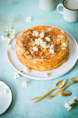 Rice pudding cake with floral decorations