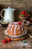 Strawberry cake with strawberry glaze