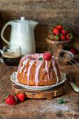 Strawberry cake with strawberry glaze