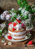 Strawberry zefir cake