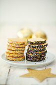 Marzipan biscuits with two types of sesame seeds for Christmas