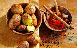 Grilled jerk potatoes with chilli and a spice mixture (Jamaica, Caribbean)