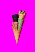 Multiple different cones for ice cream.