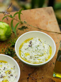 Lime and herb risotto with olive oil