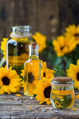 Sunflower oil in various glass containers