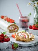 Wholegrain sponge roll with mascarpone cream and strawberries