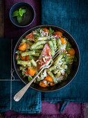 Pasta with peppermint pesto and fried red mullet