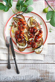 Friselle with mozzarella, figs and roasted tomatoes