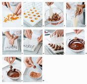 Making gianduia orange lollies with sesame seeds