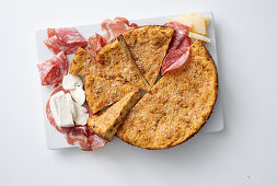 Spicy cake with salami and mozzarella