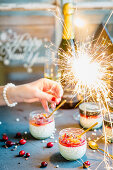 Panna cotta with orange and cranberry compote for New Year's Eve