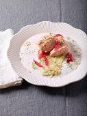 Wild salmon fillet on creamy fennel puree