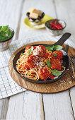 Baby marrow meatballs in tomato sauce