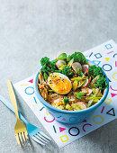 Buddha bowl with mackarel and egg