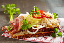 Wholewheat bread with mustard, sauerkraut, bacon, onion and peppers