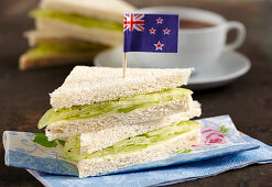 Australian cucumber sandwiches with butter and cucumber