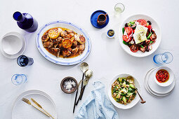 Greek stylebarbecued spatchcock with greek salad, Giant Beans and Celery