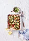 Vegetable Lasagne with lemon basil pesto