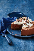 Chocolate cake with bace and mint cream