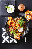 One-pan lamb and lentil biryani with caramelized onion