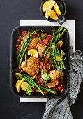 Lemon pepper chicken and bean tray bake