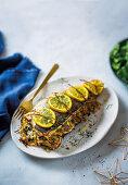Baked yellowtail with veg-rice stuffing