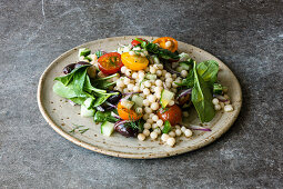 Israeli pearl couscous and olive salad