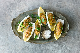 Cig Köfte – chicory boat filled with bulgur and nuts