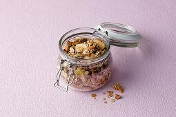 Crunchy muesli in a storage jar