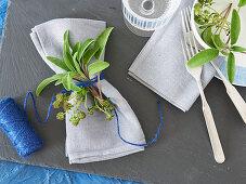 Fresh herb napkin decorations