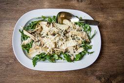 Sauteed mushrooms with arugula and parmesan