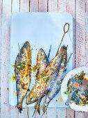 Gegrillte Sardinen mit Chermoula-Sauce
