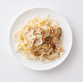 Pasta with cheese, pepper and porcini mushrooms