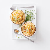 Small chanterelle and chestnut souffles