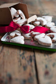 Heart-shaped iced biscuits