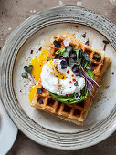Waffle breakfast topped with pouched egg on avocado rose with radish sprouts