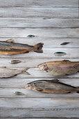 An arrangement of trout, chard and lavaret