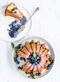 Blueberry cake with pink icing
