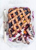 Blueberry and peach lattice tart