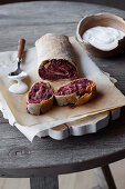 Red cabbage strudel with sour cream
