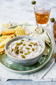 Bowl of tuna dip with jalapenos