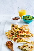 Quesadilla with mexican scrambled eggs