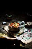 Vegan breakfast with tofu and tomatoes