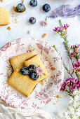 Cookies with blueberry jam and blueberries