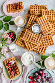 Breakfast with waffles, cottage cheese, fruit and coffee