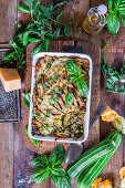 Zucchini and peas minced meat bake